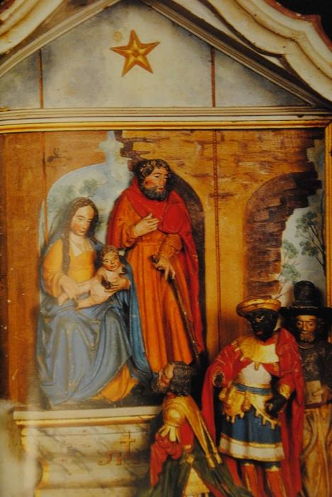 Hubert-crèche en bois polychrome de sainte anne D'Auray