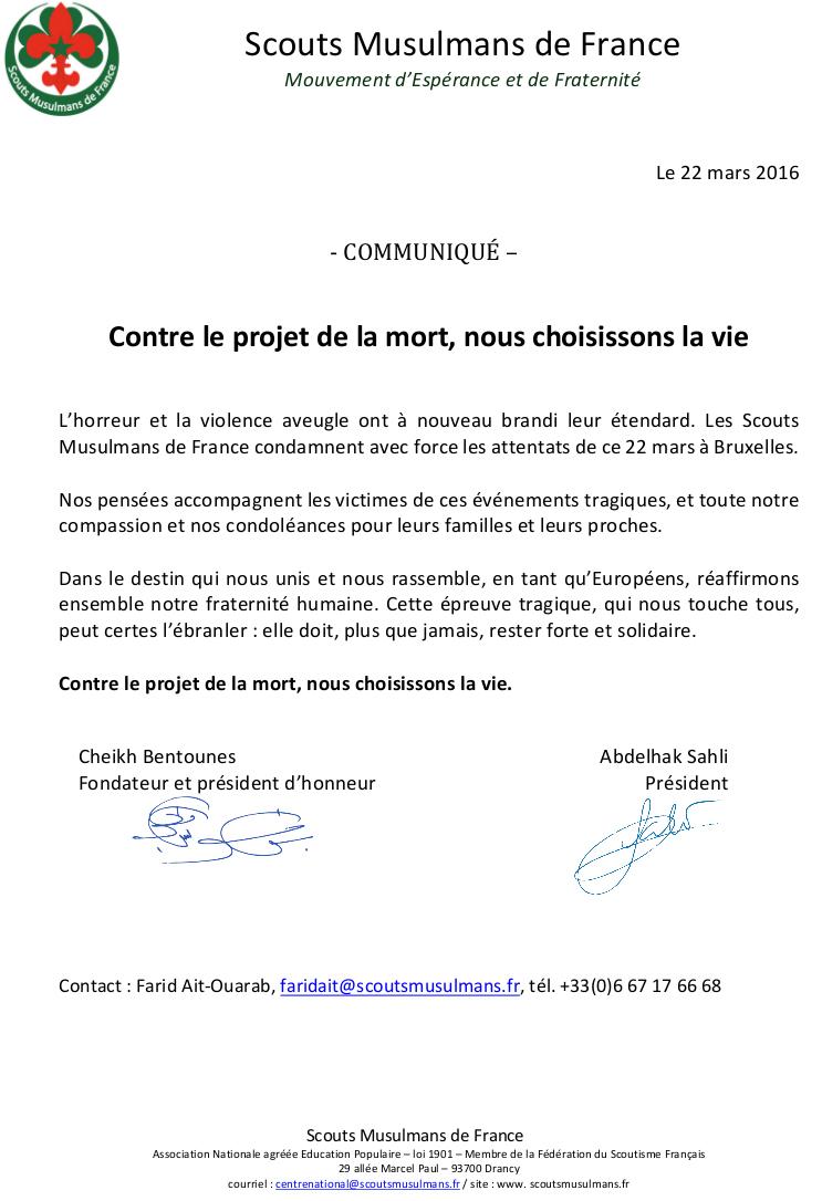 Communique SMF - 22 mars Belgique